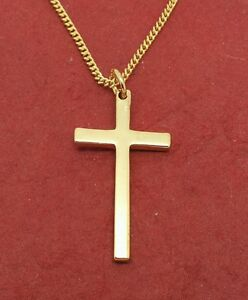 Gold Plated Cross Necklace charm pendant and chain