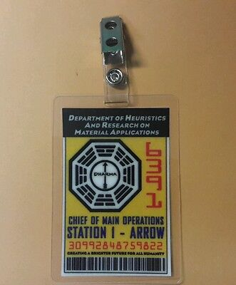 Lost TV Series ID Badge -Chief of Main Operations Arrow cosplay prop costume