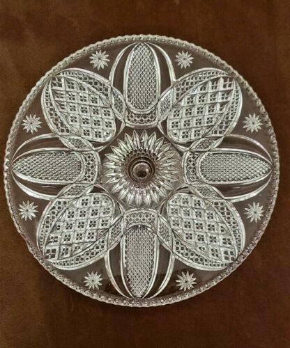 VINTAGE INDIANA GLASS DAISY & FINECUT HEIRLOOM CAKE STAND PLATE