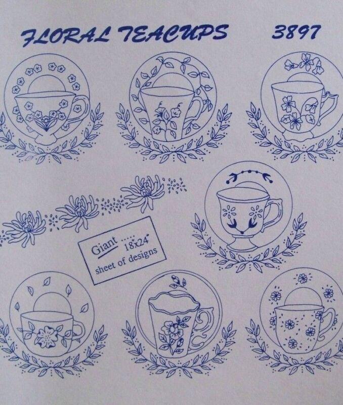 Aunt Marthas 3897 FLORAL TEACUPS 7 Motifs Tea Towels Embroidery Transfer Pattern