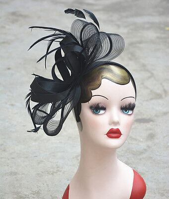 Womens Fascinator Feather Cocktail Hat Veil Kentucky Derby Wedding Party A326