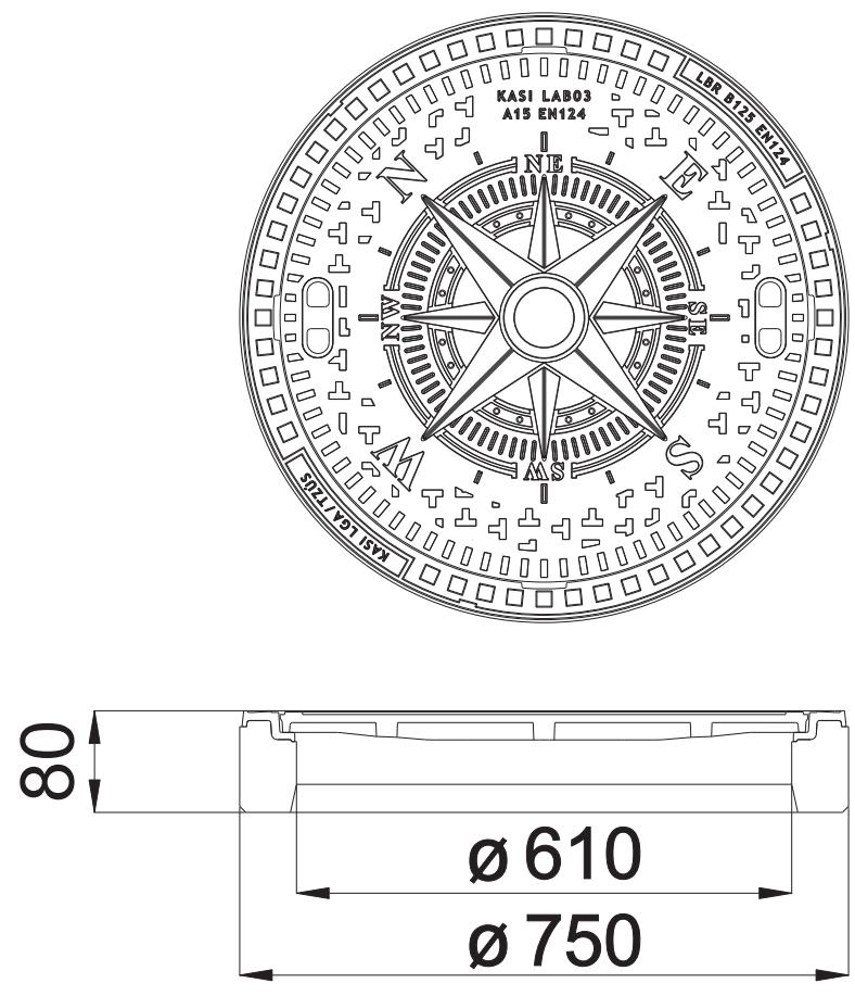 Schachtabdeckung Klasse A15 KN50 Gully Kanaldeckel Schachtdeckel mit Windrose