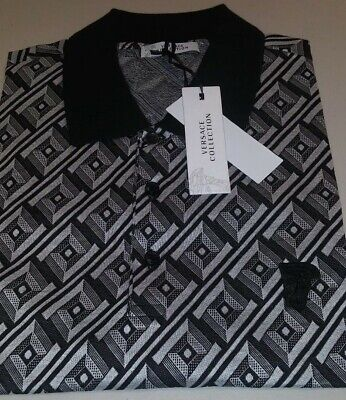 Mens Versace Collection All Over Print Polo Shirt White/Black 2XL