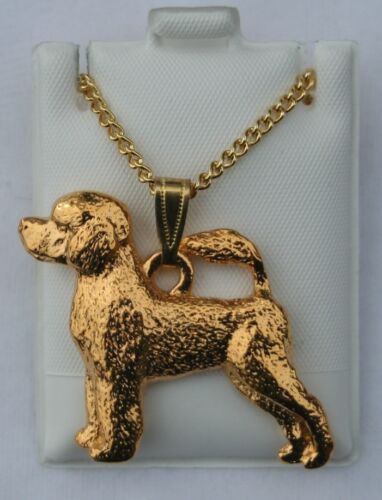 Portuguese Water Dog Dog 24K Gold Plated Pewter Pendant Chain Necklace Set