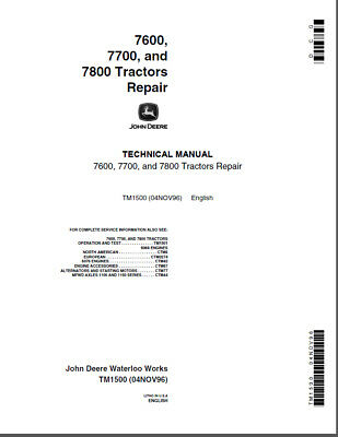 John Deere 7600 7700 7800 Row Crop Tractor Shop Service Repair Manual Tm1500