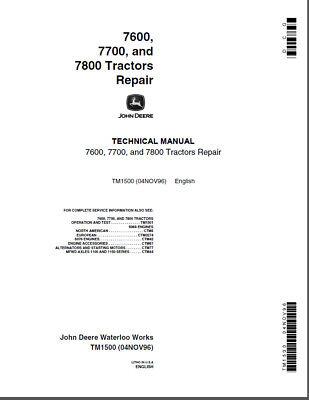 John Deere 7600 7700 7800 Row Crop Tractor Shop Service Repair Manual Tm1500
