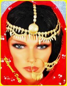 Bollywood Haarschmuck Kopfschmuck+Nasenring Orient Hochzeit Bauchtanz
