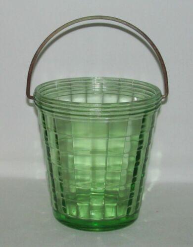 Hocking Glass BLOCK OPTIC Green Tall Ice Bucket with Handle