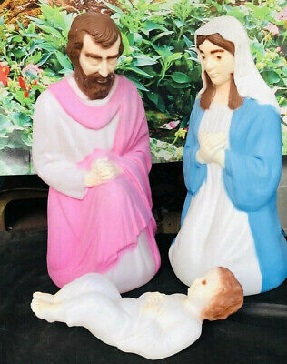 "Empire set Vintage Nativity Blow Mold Baby Jesus Mary Joseph Christmas Set 27"""
