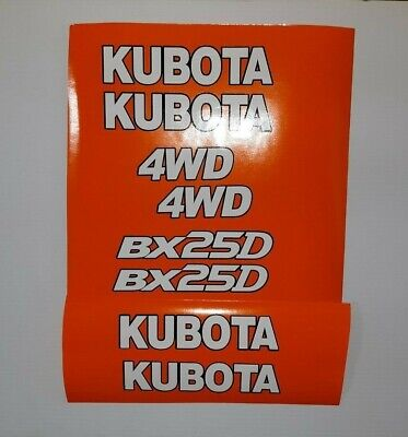 Kubota Bx 25 D Decals Backhoe Tractor Decal Kit - White With Black Outline