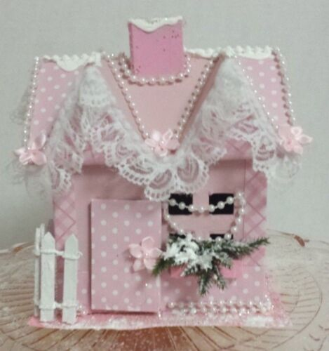 shabby chic pink Christmas house cardboard  painted decorated glitter