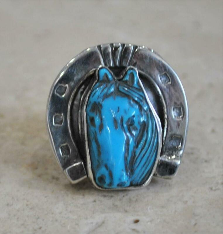 HAND CARVED~TURQUOISE~STERLING~HORSESHOE~HORSE RING~BY FRANCISCO GOMEZ