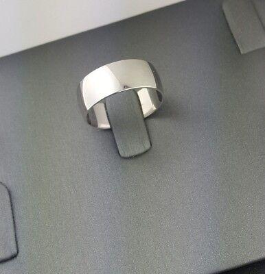 10K Solid White Gold 8MM Plain Wedding Band Ring Men Women Offer Engraving