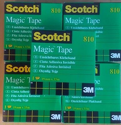 Lot Of 5 Scotch Invisible Magic Tape 3 M 34 X 1299 19mmx33m Made In France