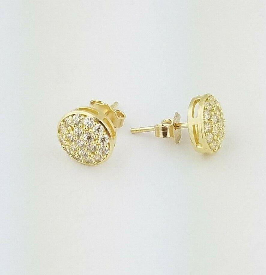10k Solid Yellow Gold Round Diamond Pave Stud Earrings Push Back Women/Children