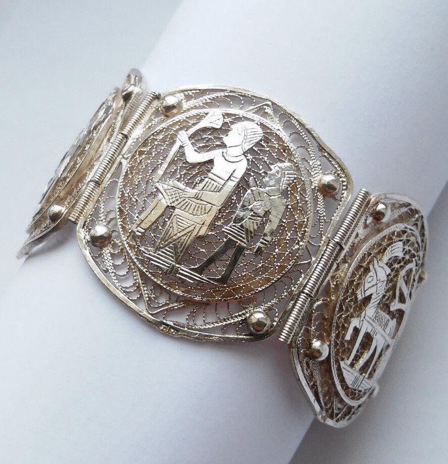 Egyptian Revival Filigranes Art Deco Armband Ägypten 800er Silber 1938 1939