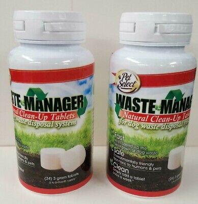 - (2 Bottles) Waste Manager Natural Clean-Up Tablets For Dog Waste Disposal System