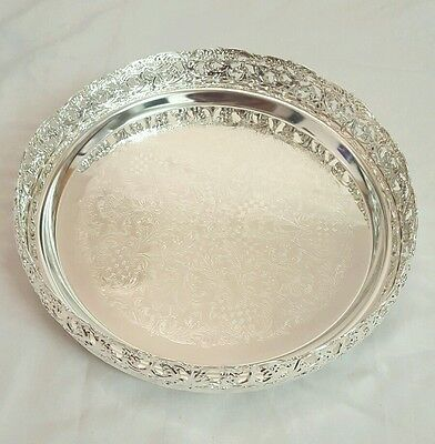 Silver Plated Round Gallery Tray Plate Paandan - Silver/Gold Plated.