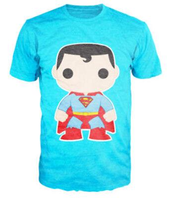 Superman T-shirt DC Comics Funko Graphic Tee Neon Sky Blue NWT ()