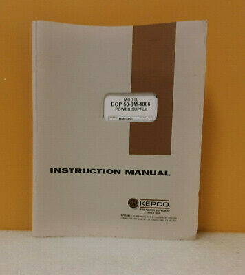 Kepco 243-0715 Bop50-8m-4886 Bipolar Operational Power Supply Instruction Manual