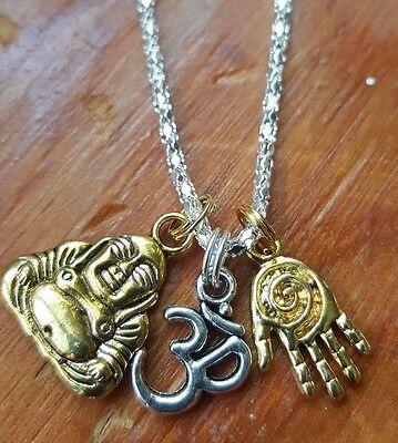 Buddhas Wisdom Necklace Gold 2   Tone Spiral Hamsa Om