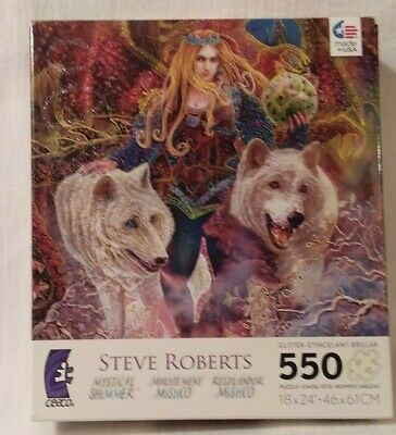WOLVES, BATS, EGG TIARA a 550 pc USED MYSTICAL SHIMMER puzzle by Steve Roberts, used for sale  Hubbard