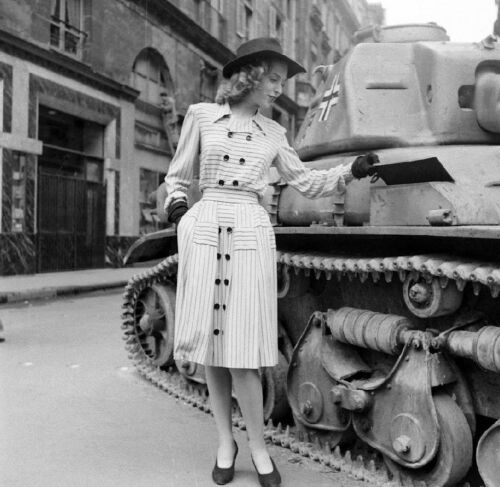 WW2 WWII Photo French Woman Poses by German Tank  World War Two France / 8074