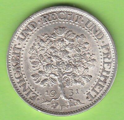 5 Reichsmark Eichbaum 1931 F toll erhalten besser als vz nswleipzig