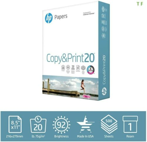 HP Printer Paper Copy&Print 20lb, 8.5 x 11, 1 Ream, 500 Total Sheets,Made in USA
