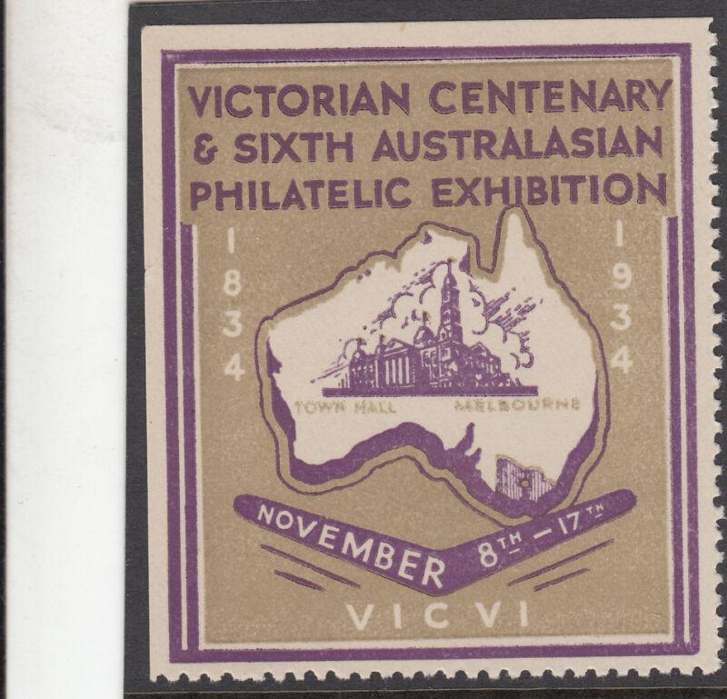 Stamp Victorian Centenary, 1934 Sixth Australasian Philatelic Exhibition label