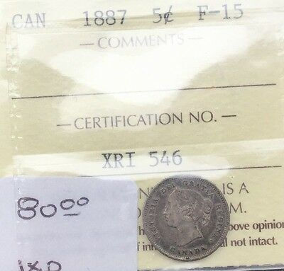 CANADA 1887  5 CENTS SILVER  GRADED ICCS FINE 15 SEMI KEY DATE