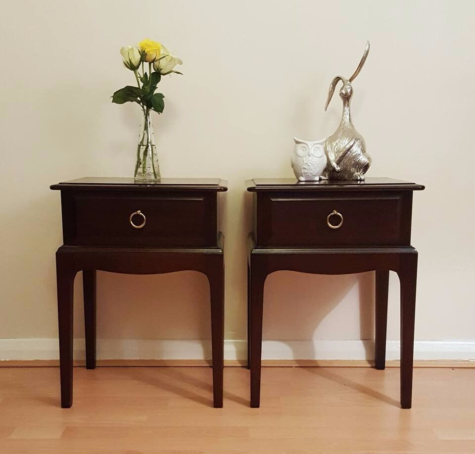 Pair Of Mahogany Stag Bedside Tables With 1 Drawer