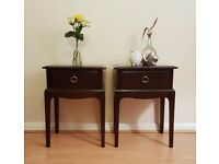 Pair of Mahogany Stag Bedside Tables with 1 Drawer - Bedroom Furniture - Stag Minstrel