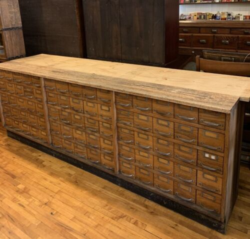 Antique Hardware Store Counter Work Station Cabinet 75 Drawers Storage File