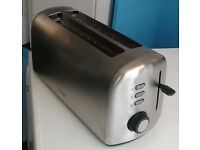 brushed steel breville 4 slice long slot electric toaster graded with 12 month warranty
