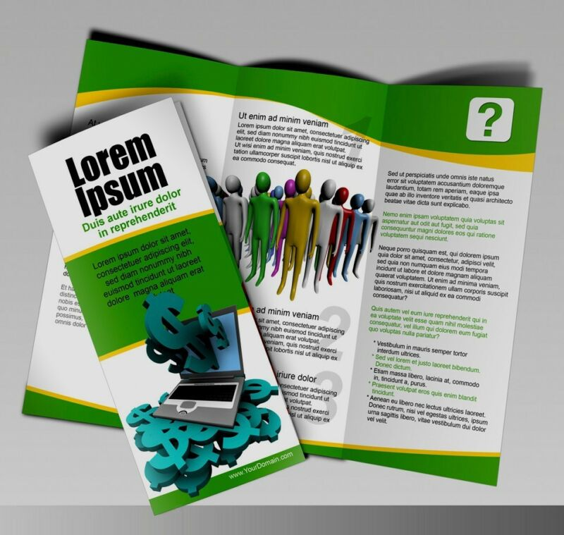 1000 Tri-Fold Glossy Brochures REAL PRINTING FULL COLOR Best Quality 8 1/2 x 11