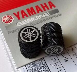 YAMAHA-ORIGINALE-ruota-valvola-tappo-antipolvere-set-di-due-SEMI-ZIGRINATO-NERO