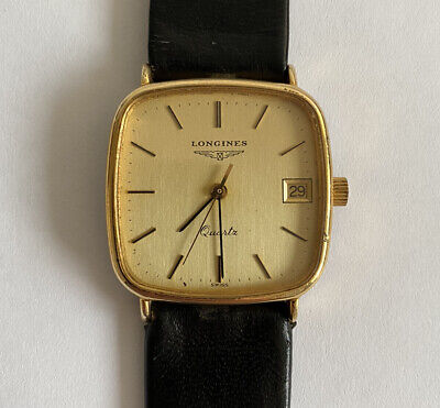Vintage Mens Longines Quartz Gold Plated Date Watch