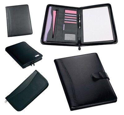 Black A4 Business Executive Conference Folders Pu Leather Office Folio 5 Styles