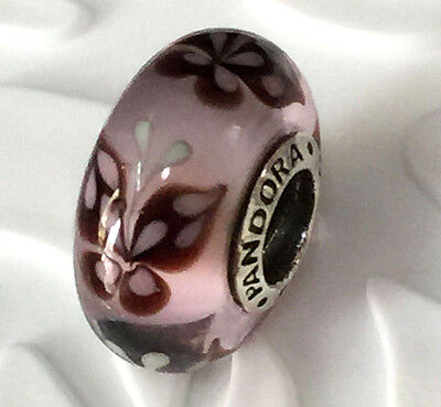 NEW Authentic Pandora 925 silver murano bead charm pink Butterfly kisses 791621