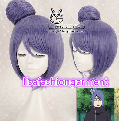 Dark Purple Wig (Narutos Akastuki Konan Dark Purple with bun Straight Short Cosplay Wig)