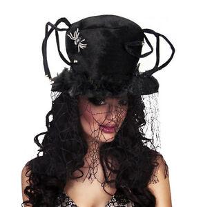 Mujer-Grande-Negro-Tela-de-arana-Sombrero-amp-Telarana-Velo-Disfraz-Bruja-NUEVO