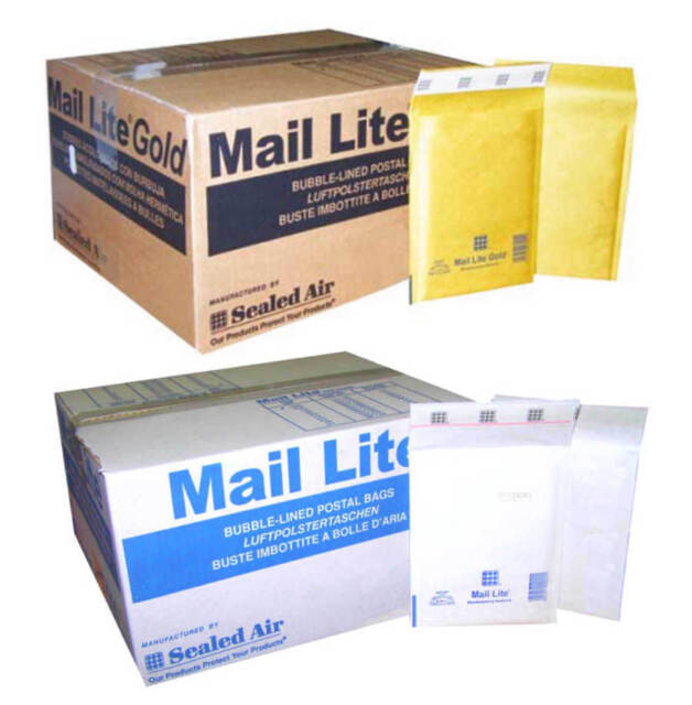 PADDED BUBBLE  LINED ENVELOPE POSTAL BAGS ALL SIZES WHITE & GOLD BY MAIL LITE