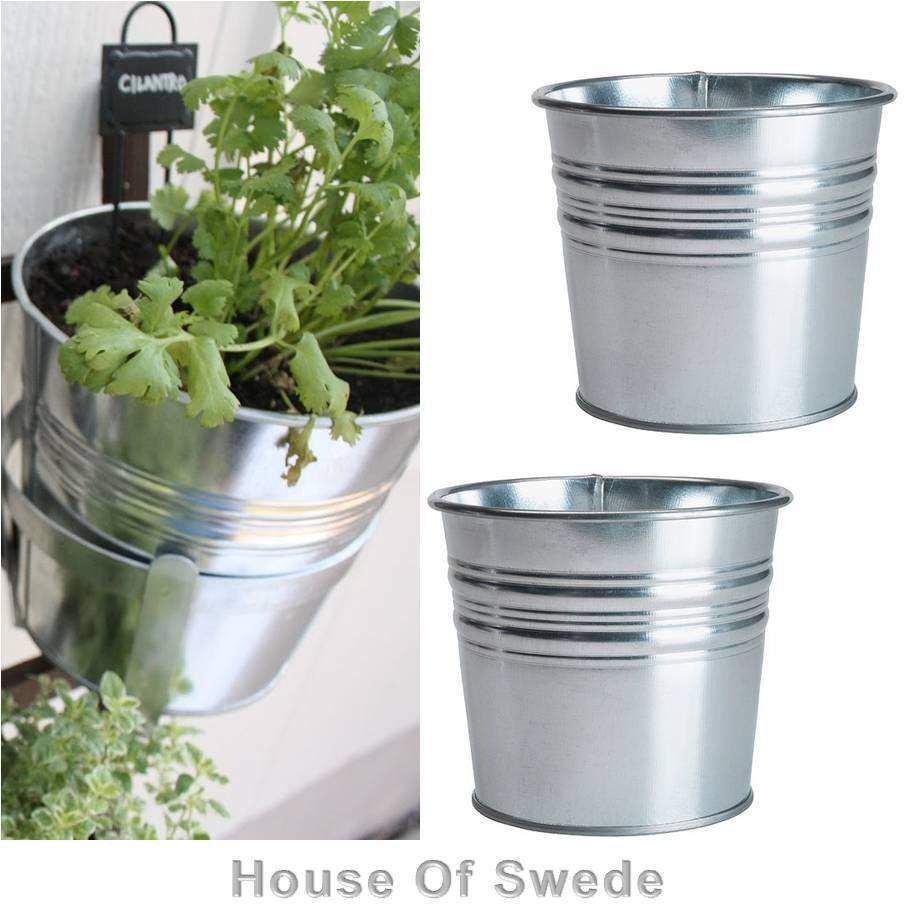 2 Ikea Steel Plant Pots Planter Flower Plant Pot Indoor