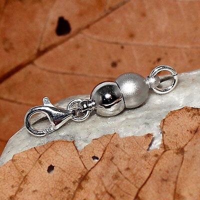 Magnet Verschluss rhodiniert matt - Karabiner 925 Silber -  28x6mm Magnetschieße
