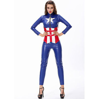 Womens Sexy CAPTAIN AMERICA AVENGERS HERO Fancy Dress Costume Outfit