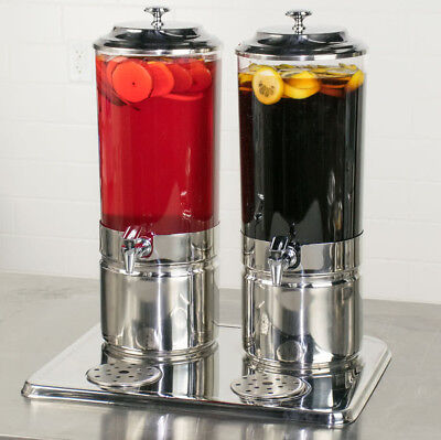 Dual Beverage ( 3.7 Gallon Stainless Steel Double Beverage Drink Ice Cooler Display Dispenser)