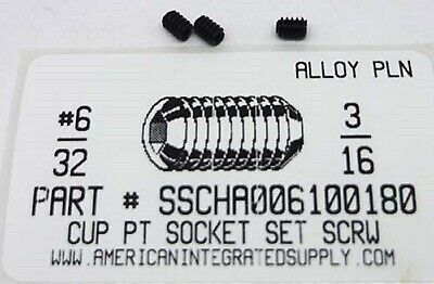 6-32x316 Hex Socket Set Screws Cup Point Alloy Steel 60