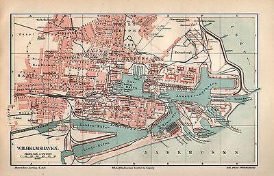 Wilhelmshaven Jadebusen Tiefwasserhafen Ems-Jade-Kanal historisch Stadtplan 1909