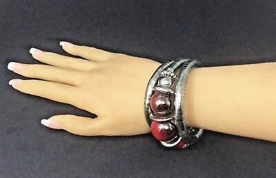 3 row Statement BRACELET coil and metal discs Chunky red to silver -